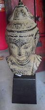 "Unique Vintage Cast Iron on Wood Tibetian Man Head Statue 13"" Tall  LOOK"