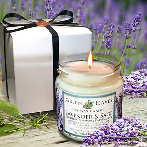 Handmade-Soy-Candle-Lavender-And-Sage-4-oz-smells-AMAZING-Highly-Scented