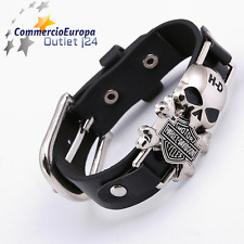 Bracciale in pelle nero Harley Davidson Skull Teschio Black HD Rock Life Metal