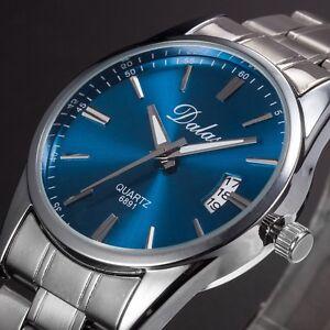 Date-Analog-Quartz-Sport-Armbanduhr-Neu-Luxus-Herren-Uhr-Edelstahl-Band