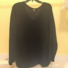 Eileen Fisher Womens Nubby Wool Sweater V-neck Size L Black