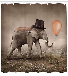 Shower-Curtain-Art-Surreal-Decor-Illusionist-Elephant-Black-70-Inches-Long