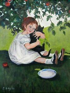 "M.JANE DOYLE SIGNED ORIG.ART OIL/CANV PAINTING ""KIT WITH KAT""(PORTRAIT w/CAT)FR."