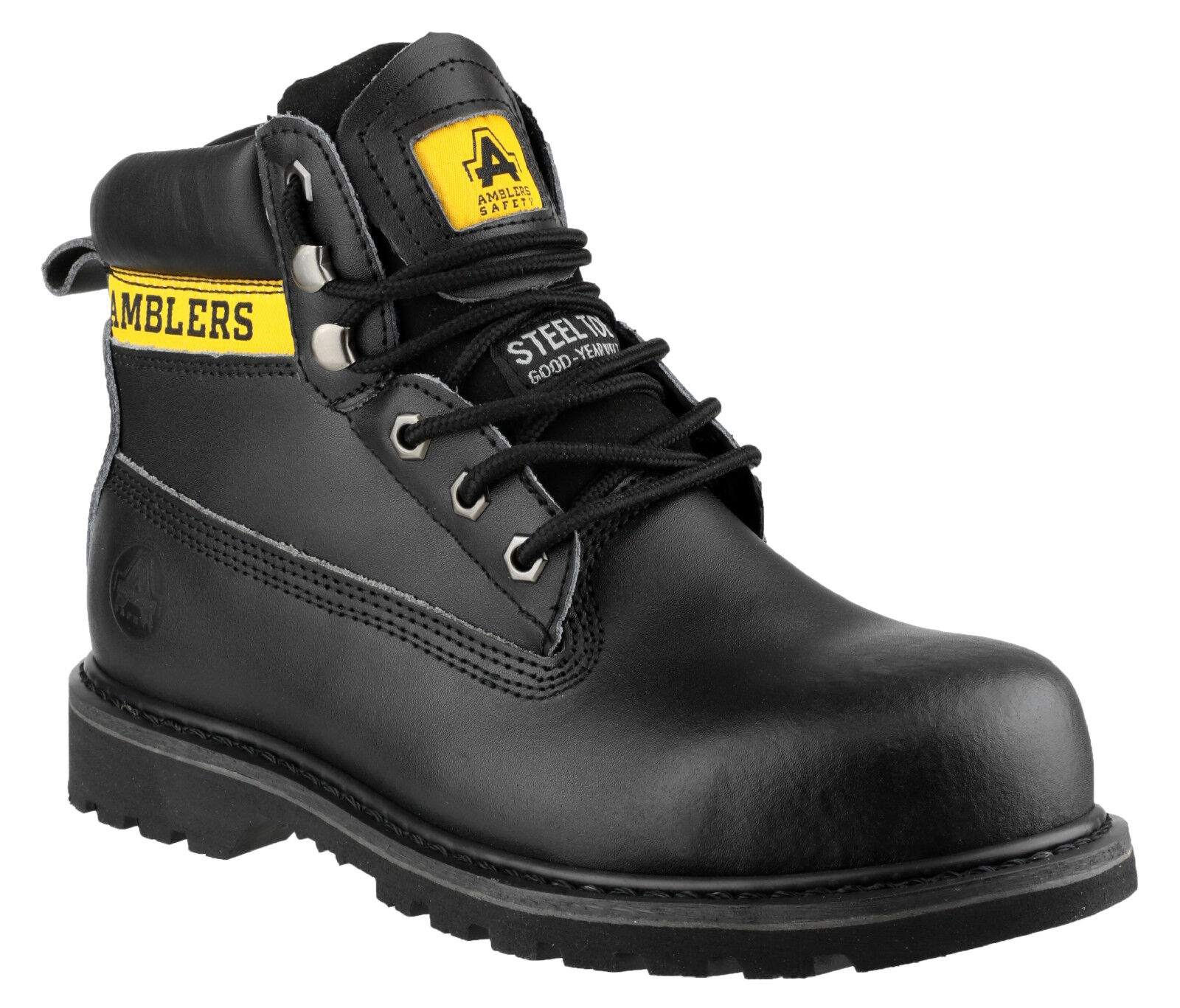 Hombre Safety botas / Negro Leather Steel Toe Toe Toe Cap Laced Work Industrial Amblers 5025ab