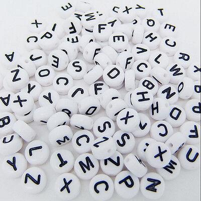200x Weiss Rund Alphabet Buchstaben Spacer Perlen 7mm S3F2 OE