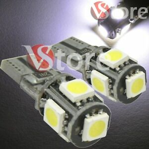 2-Veilleuses-LED-T10-ampoules-5-smd-5050-Canbus-5W-BLANC-ANTI-ERREUR-Lampe-Xenon