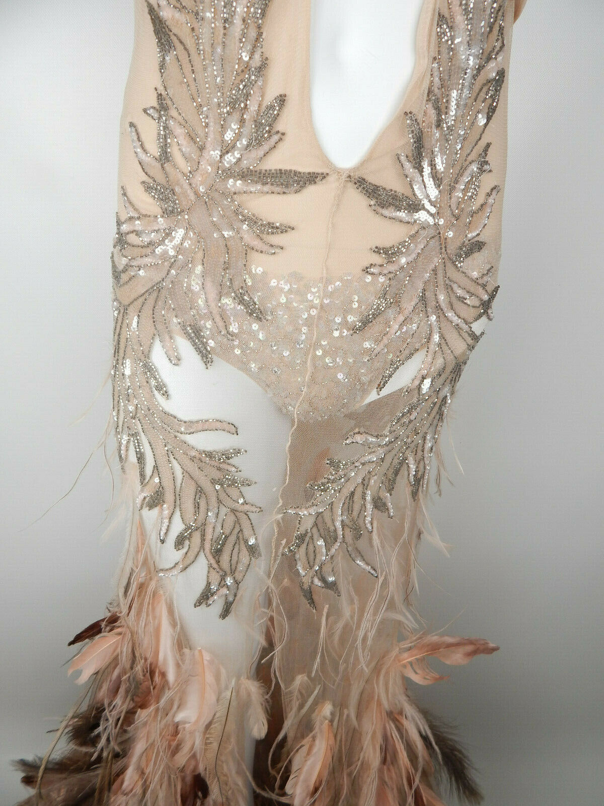 Roberto Cavalli FW2003 Blush Crystal Feather Gown - image 11