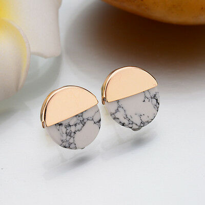 Women Trendy Punk Faux White Black Simple Marble Stone Gold Round Stud Earrings