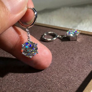 Gorgeous-Round-White-Sapphire-Dangle-Drop-Earrings-925-Silver-Wedding-Jewelry