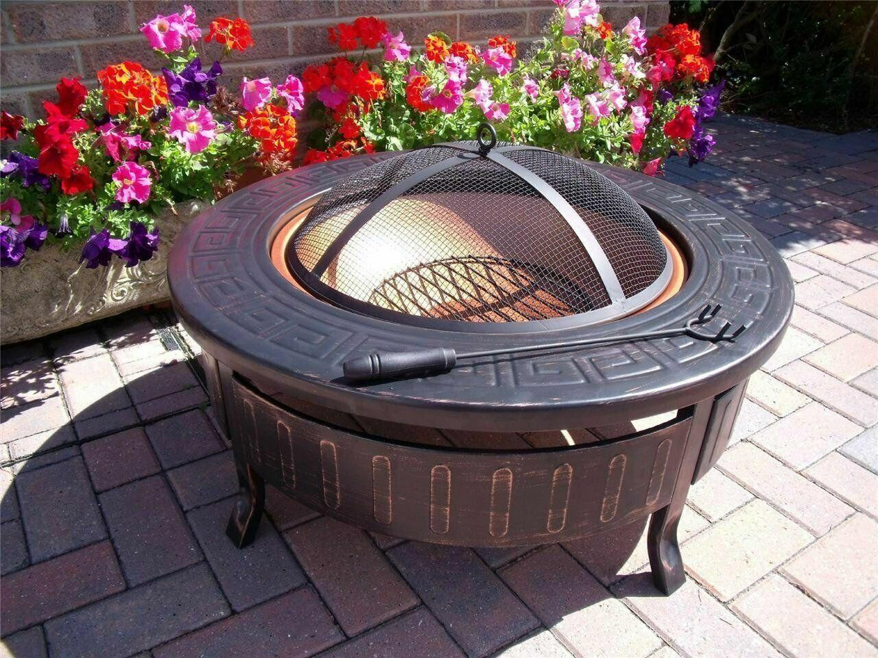 rojoondo Acero Jardín Fuego Pozo con Parrilla & Funda Exterior Calentador Tronco