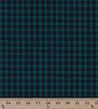 Tartan Plaids Black Watch Polyester Cotton Green Blue Plaid Fabric BTY D157.13