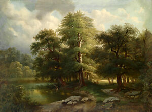 Oil-painting-summer-landscape-with-wild-animal-deer-in-forest-by-the-river