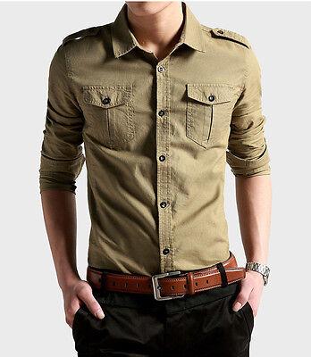 C6172 Fashion Cotton Men's Epaulet Double Pocket Casual Military Dress Shirts