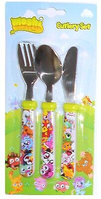 Responsabile Moshi Monsters | Poppet 3pz Metallo Coltello, Forchetta E Cucchiaio Mealtime | Il Set Di Posate-mostra Il Titolo Originale