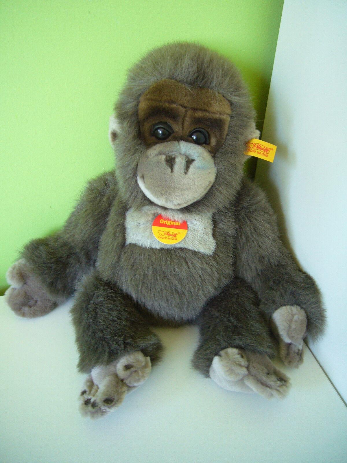 Steiff Baby Gorilla EAN 062070 Braun Grau Monkey Soft Stuffed Cuddly Toy 14