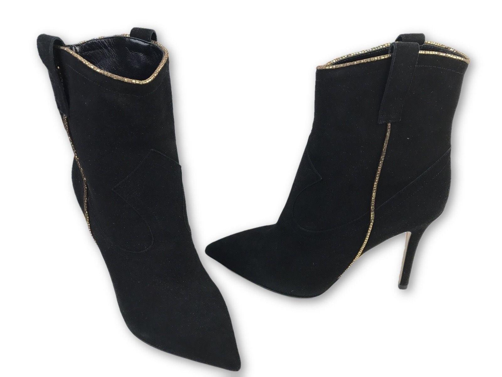 Semilla EUR 37 US 6.5 botas al Tobillo Negro Negro Negro Gamuza oro Recortar Tacón Stiletto MSRP  695  Tu satisfacción es nuestro objetivo