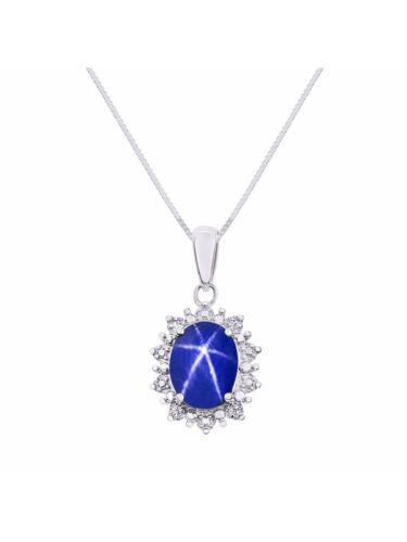 Princess Diana Inspired Halo Diamond /& Blue Star Sapphire Pendant Necklace Set