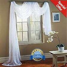 "Pure White Sheer Window Wedding Scarf Drape Panel Curtain Swag Voile 56"" x 216"""