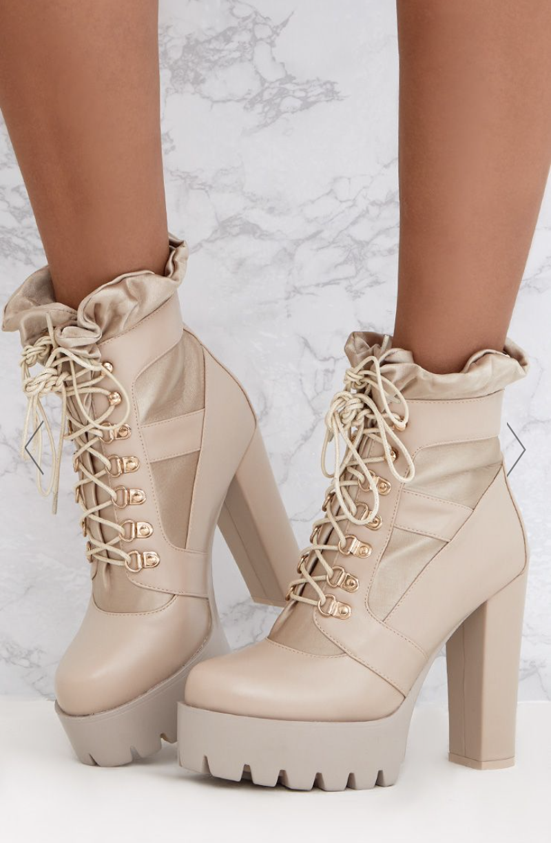 PRETTY LITTLE THING COMFY FRILL ANKLE PLATFORM BOOTS