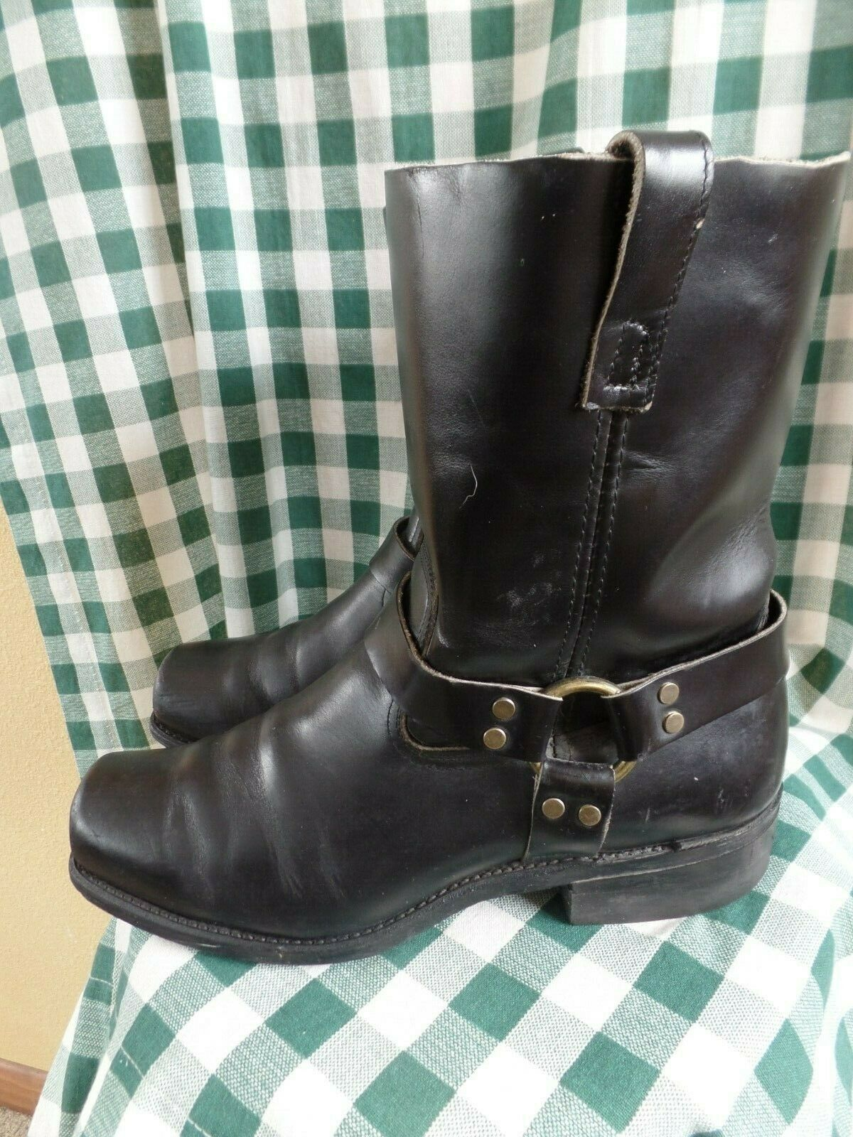 VINTAGE Harness Boots Brass rivets Chemigum heels Made in USA Us 11M 11  tall