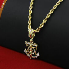 "Mens 14k Gold Plated Hip-Hop Anchor Jesus Pendant 30"" Rope Chain Necklace D664"