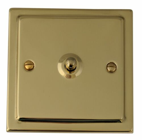 G/&h TB281 Trimline plaque laiton poli 1 Gang 1 Ou 2 Way Toggle interrupteur de lumière