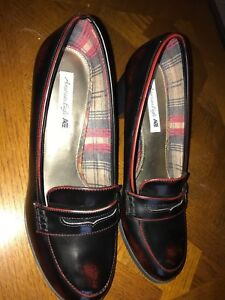 American Eagle Womens Block Heel Penny Loafers Burgundy ...