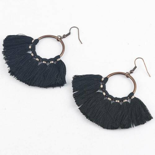 Ethnic Hoop Fan Tassel Earring Fringe Circle Round Drop Straw Boho Earrings Gift