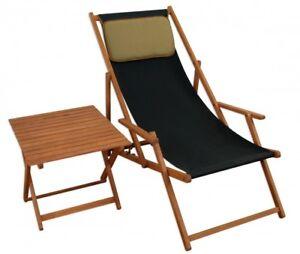 Chaise Longue Noir Bois Table Coussin Lit Soleil