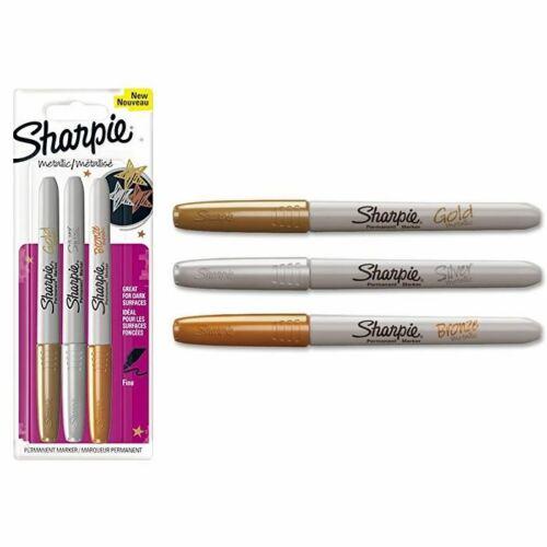Plumas marcador Permanente Sharpie metálico Oro//Plata//Bronce-Punta Fina x 3