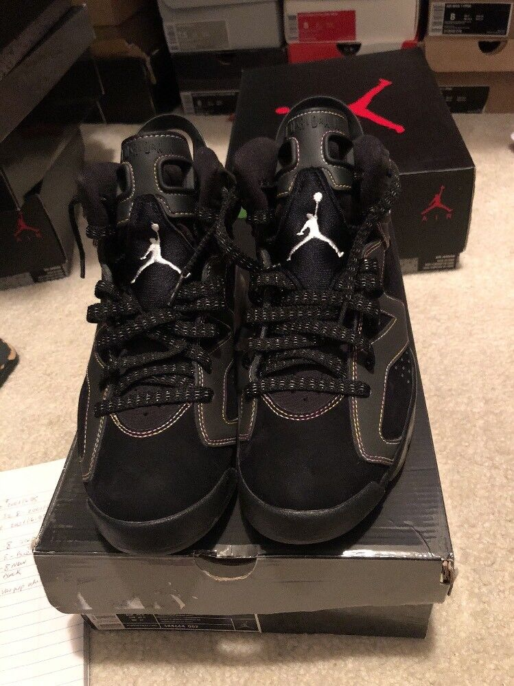 PRICE DROP  Nike Air Jordan 6 Retro Black Whte Var Purp.Sz 7.5-384664-002-Lakers