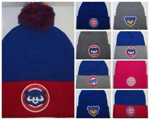 9adc9e4d6f0 Chicago Cubs Pom Pom Beanie ~Knit Cap Hat ~Classic MLB PATCH LOGO ~6 ...