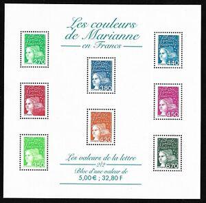 Bloc-Feuillet-2001-N-42-Timbres-France-Neufs-Les-Couleurs-de-Marianne-en-Francs