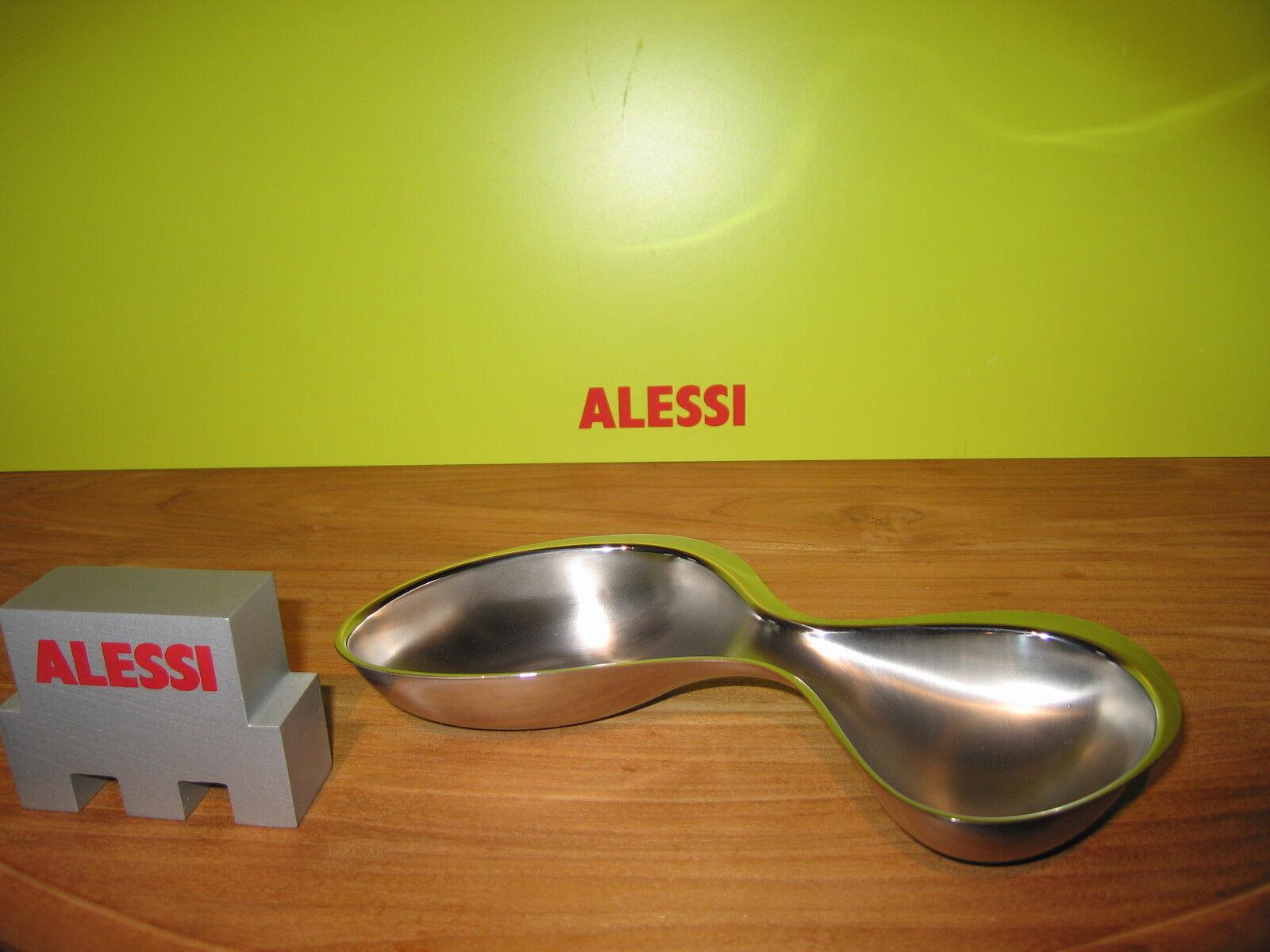 ALESSI NEW Plat hors d'oeuvre inox satiné bord brillant 23x19,5cm H.4cm RA02