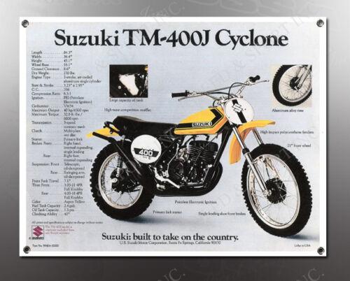VINTAGE SUZUKI TM-400J CYCLONE IMAGE BANNER NOS IMAGE REPRODUCTION
