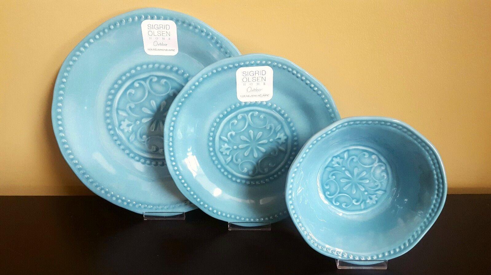Sigrid Olsen Turquoise Médaillon cloutés mélamine assiettes bols vaisselle 12pc