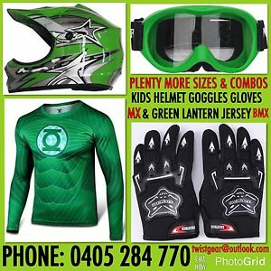 Peewee-Kids-Medium-Mx-BMX-Dirt-Bike-Helmet-Goggles-Gloves-Green-Lantern-Jersey
