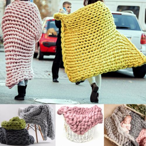 Warm Handmade Chunky Knit Blanket Thick Line Yarn Knitted Throw Home Bed Sofa US