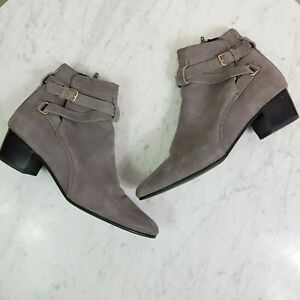 WITCHERY-Womens-Grey-Suede-Leather-Ankle-Boots-Shoes-Size-EUR-41