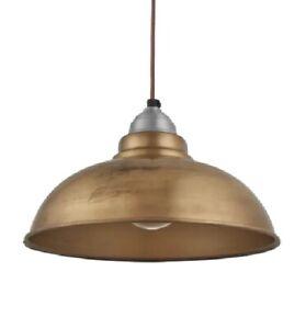 Details About Industville Ceilign1 Light Dome Metal Pendant Finish Br 20hx 30 4w X 4cmd