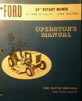 Ford 70 75 Lawn Tractor Mower Snow Plow Thrower Pto, Owner Parts (4 Manuals) 44p