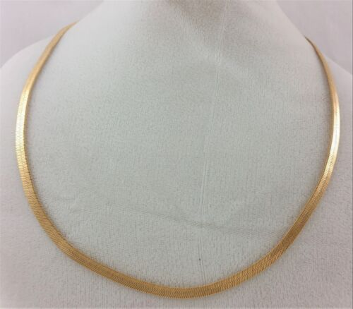 14k Gold Reversible I Love You Flexible Herringbone Flat Snake Chain Necklace
