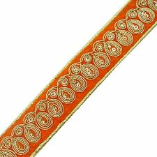 Orange Embroidered Craft Ribbon Trim 2.5 Cm Wide Decorative Indian Trim By 1 Yd