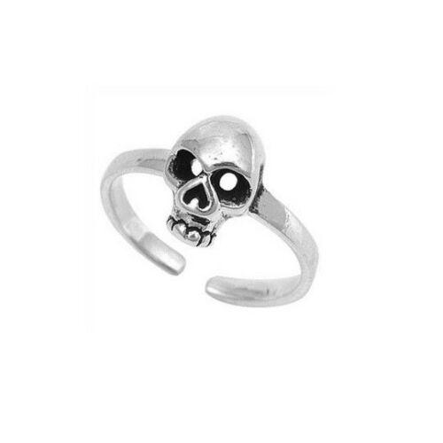 Sterling Silver 925 Skull 3D Toe Ring Midi Ring Open Adjustable Beach Feet Biker