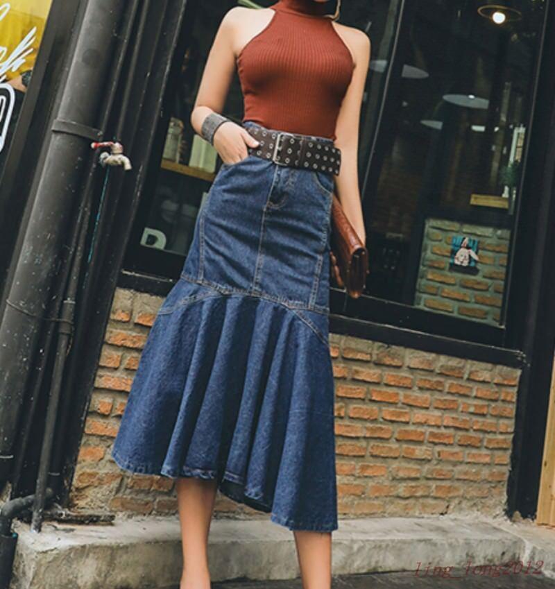 Fashion Sexy Women Jean Skirt Slim Fit Long High Waist Denim Dress ruffle korean
