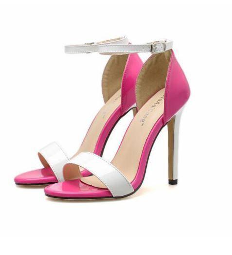Sandali stiletto spillo 12 cm cm 12 bianco rosa simil pelle comodi eleganti  9617 40f848