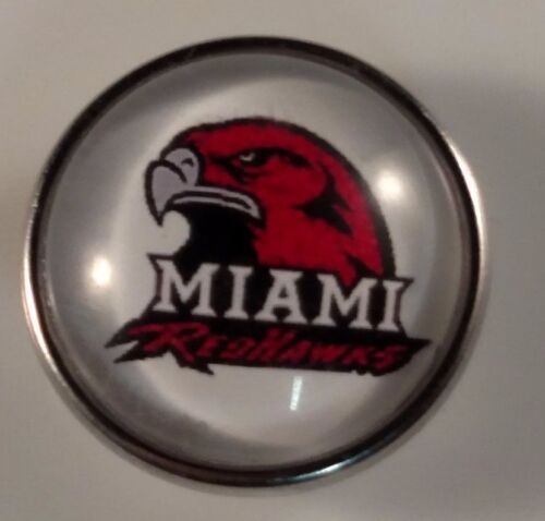 MIAMI REDHAWKS Snap Sports College Jewelry 18mm University Fits Ginger Snaps