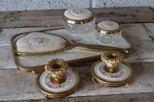 Vintage 6 Pc England Dressing Table Vanity Set Petit Point Ceramic Lace