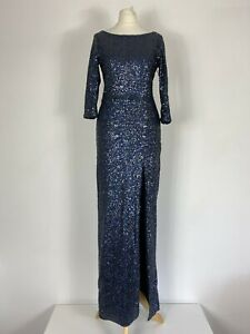 Topshop-Blue-Sequin-Full-Length-Side-Split-Party-Cocktail-Ball-Gown-Size-6