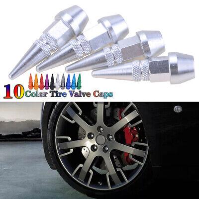 4x Aluminum SILVER Wheel Tyre Tire Valve Stems Air Dust Caps Cover for Car Bike